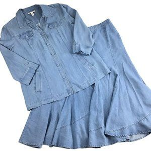JM Collection Size 12 2 Pc Set Chambray Skirt Top